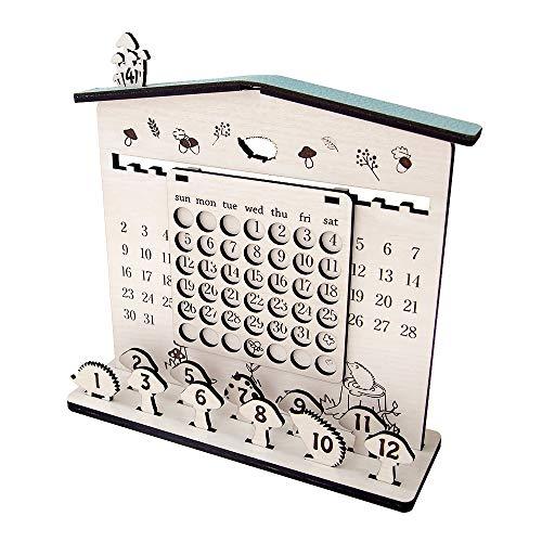 ミリュ]本革&ウッドの万年カレンダー(ハリネズミ)
