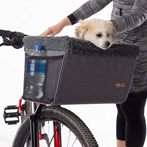 K&H PET PRODUCTS Travel Bike Basket for Pets Classy Gray Large 12 X 16 X 10 Inches
