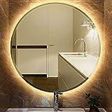 JEOBEST 60x60cm Miroir Rond De Salle De Bain avec éclairage LED Miroir Cosmétiques Mural Lumière Illumination avec Commande par Effleurement,Miroir LED,Anti-buée,Blanc Chaud (60_x_60_cm)