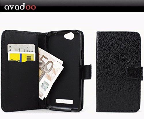 avadoo® Wileyfox Spark Flip Hülle Cover Tasche Schwarz mit Magnetverschluss & Dualnaht als Cover Tasche Hülle