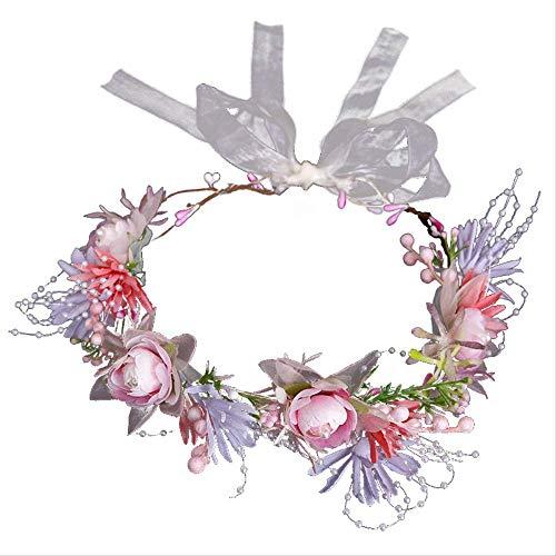 Nieuwe simulatie roze parels slinger bruid bruiloft bruiloft zoete hoofd ring Mori gebonden rotan haarband