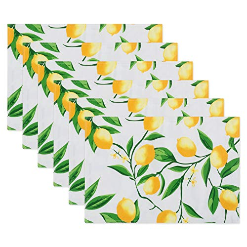"""DII Lemon Bliss Outdoor Tabletop, Collection Stain Resistant & Waterproof, Reversible Placemat Set, 13x19"""""""