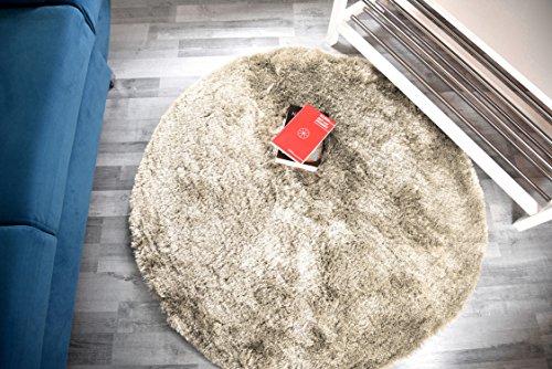 Fabelia Hochflor Teppich Shaggy Gentle Luxury - Weich und Handgetuftet/In vielen bunten Farben (120 cm x 120 cm rund, Beige)