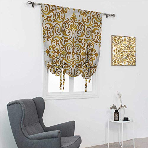 """Tie Up Curtains for Windows Victorian Tie Up Window Shade for Home Victorian Lace Floral 48"""" Wide by 64"""" Long"""