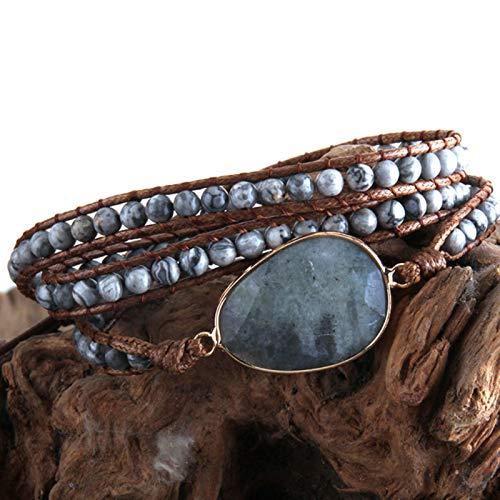 AQUALITYS Fashion Beaded Boho Bracelet Jewelry Handmade Natural Stones Charm 3 Strands Wrap Bracelets