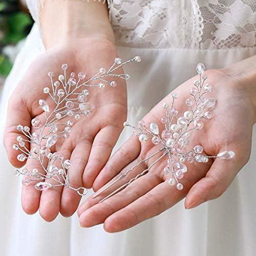 Easedaily Bride Wedding Hair Vine Silver Crystal Headband Pearl Hair Pin Rhinestone Headpieces product image