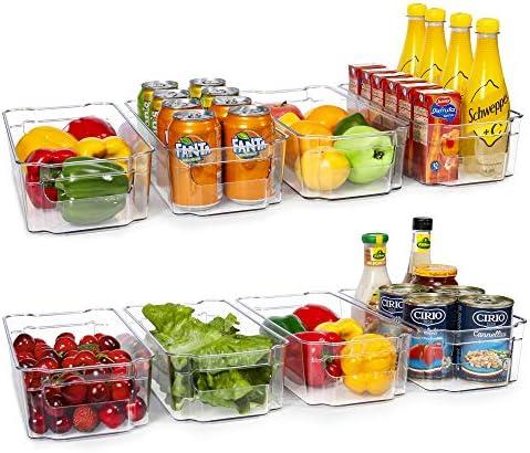 HOOJO Refrigerator Organizer Bins 8pcs Clear Plastic Bins For Fridge Freezer Kitchen Cabinet product image