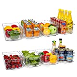 HOOJO Refrigerator Organizer Bins - 8pcs Clear Plastic Bins For Fridge, Freezer, Kitchen Cabinet, Pantry Organization, BPA Free Fridge Organizer, 12.5' Long, Clear