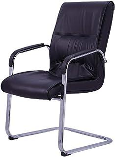 PLLP Sillas de escritorio, silla de oficina ergonómica con respaldo medio Cuero de PU con reposabrazos Silla de escritorio minimalista moderna Silla de computadora