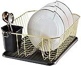 Acero inoxidable 304 escurridor marco de desagüe de la cocina cesto de la ropa, bastidores de almacenamiento, bastidores de secado plato, paletas y jaulas con cocina soporte de palitos,Gold