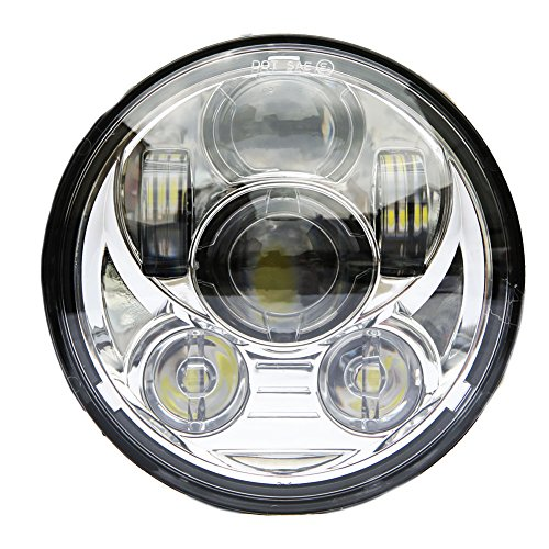 Wisamic 5-3/4 5.75 inch LED Headlight - Compatible with Harley Davidson Dyna Street Bob Super Wide Glide Low Rider Night Rod Train Softail Deuce Custom Sportster Iron 883-Silver