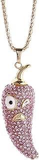 New Little Chili Long Necklace Mini Fashionable Crystal Rhinestone Pendant Sweater Necklace for Women Girls