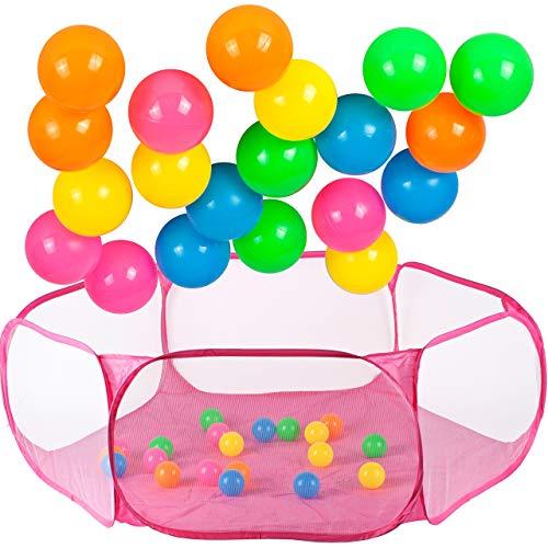 MalPlay 5901924222262 Basen Sześciokątny Do Piłek + 20 Piłek, Kolorowe Piłeczki, Różowy, Łatwe Rozkładanie I Składanie, Dla Dzieci, Suchy Basen, Z Kulkami, Kulki