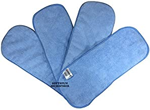 SOFTSPUN Microfiber 4 Layer Baby Pocket Diaper Inserts, Pack of 4 Small Size (Sky Blue) Age 0-3 Months, Washable, Reusable Ultra Absorbent, Super Soft & Comfortable for Babies Skin of Newborn Baby.
