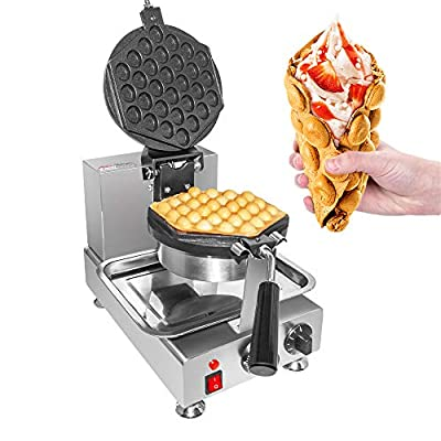 ALDKitchen Bubble Waffle Maker | Commercial Hong Kong Waffle Maker with Improved Manual Thermostat | 1 Large Hexagon Shaped Egg Waffle | 110V | (ROTATED)