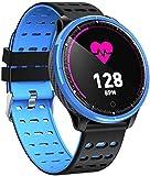 JSL Reloj inteligente impermeable Bluetooth Smart Watch Medición de la frecuencia cardíaca Modo Deportivo Monitoreo del Sueño IP68 Impermeable Mensaje Recordatorio Azul-Azul