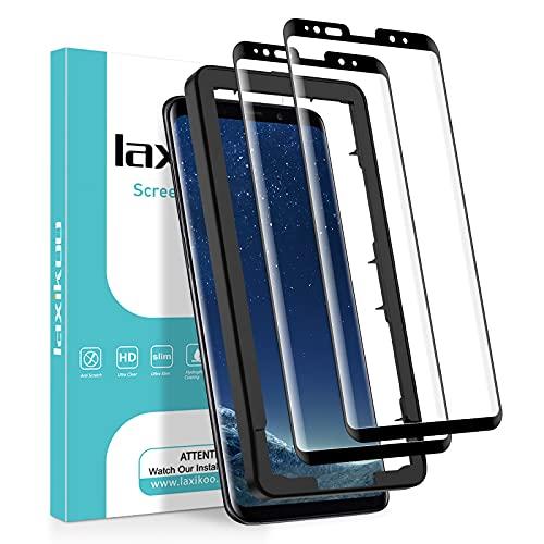 laxikoo 2 Stück Full Screen Panzerglas für Samsung Galaxy S8, 3D Gebogenes Panzerglasfolie mit Positionierhilfe, 9H Härte Blasefrei Schutzglas, Anti-Kratzen HD Displayschutzfolie für Samsung Galaxy S8