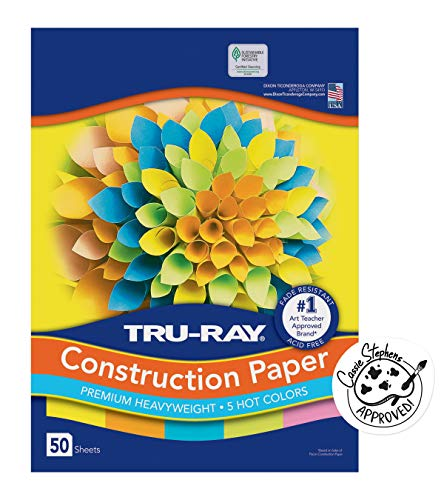 Tru-Ray Heavyweight Construction Paper, Hot Assorted Colors, 12' x 18', 50 Sheets