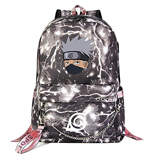 ZZGOO-LL Naruto/Uchiha Itachi/Kakashi with Chain USB Anime Cosplay Bookbag College Bag Mochila Backpack Escolar Light Grey-A