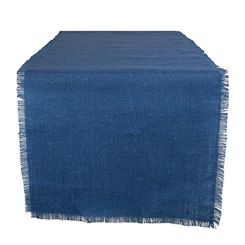 """DII 100% Jute Rustic Vintage Table Runner for Parties BBQ's Everyday & Holidays Use, 15x48"""", Nautical Blue"""