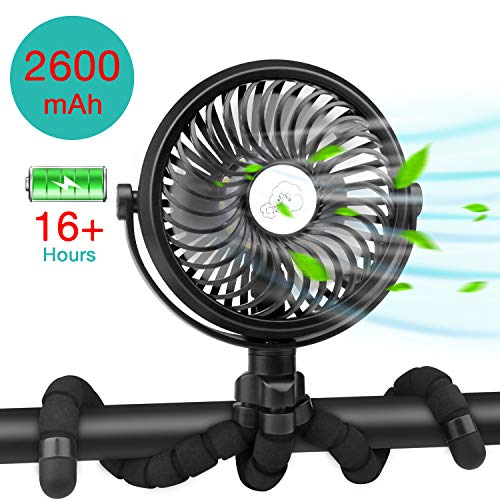 UWALK Portable Stroller Fan, Flexible Tripod Clip On Fan, 2600 mAh USB Rechargeable Battery Powered Handheld Fan with LED light & 3 Speeds, Ideal for Tent, Car Seat, Baby, 360°Rotatable and Ultra Quiet