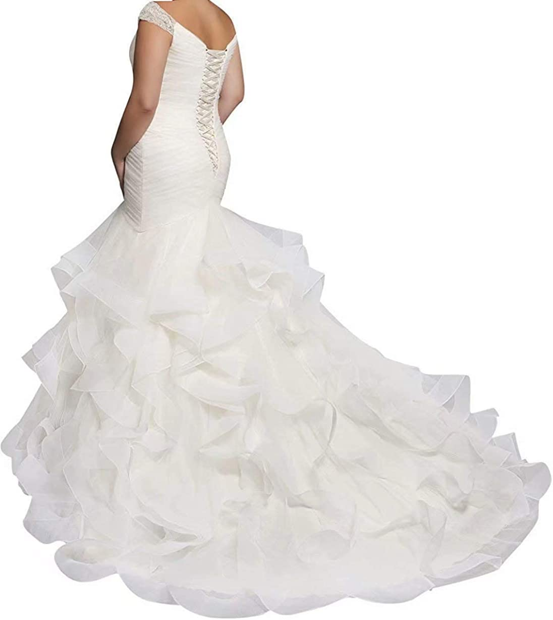 QueenBridal Women's Mermaid Wedding Dress Plus Size Wedding Gowns for Bride Cap Sleeve Beaded Bridal Gowns QU62