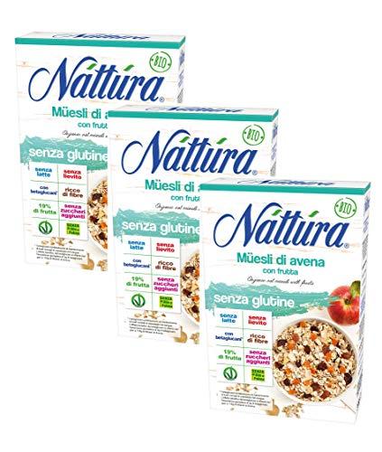 Nattura Muesli Biologico di Avena con Frutta Senza Glutine Con Betaglucani Fonte di Proteine Senza Latte Senza Lievito Senza Zuccheri Aggiunti Senza Olio di Palma Vegan OK - 3 x 300 Grammi