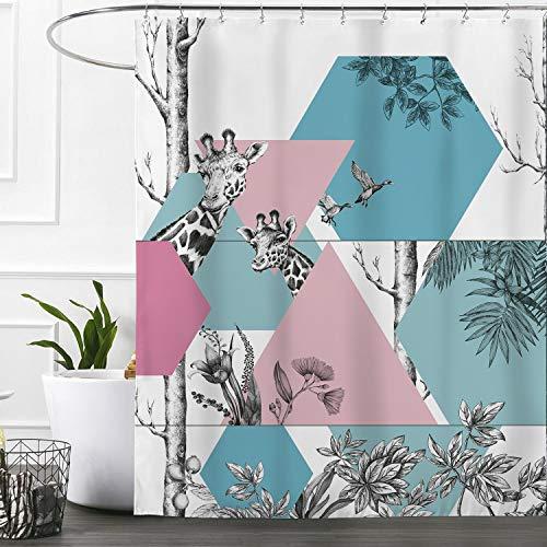 Ashler Duschvorhang-Set mit Kunststoffhaken, 187,8 x 182,9 cm, Blau Giraffe-2