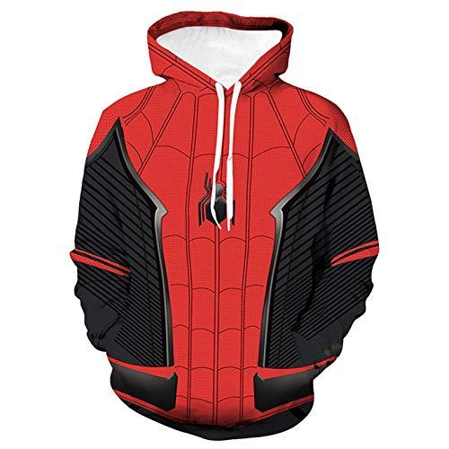 MODRYER Spiderman Far from Home Cosplay Sweat Unisexe Sweat 3D imprimé à Cordonnet Pull à Manches Longues pour Kid Garçon Fille,Small/130cm