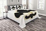 ABAKUHAUS Fleur De Lis Tagesdecke Set, Lily Thron von Frankreich, Set mit Kissenbezügen luftdurchlässig, für Doppelbetten 220 x 220 cm, Gelb Weiß Schwarz