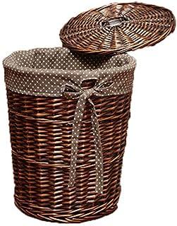 KTYX Paniers Rangement Home Storage Rectangle Wicker Basket Blanchisserie Jouets Nursery Collection Box, 3 Tailles,Marron,...