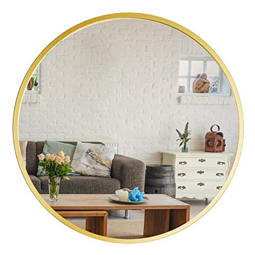 "YOUWANG Gold Circle Mirror - 24'' Round Wall Mounted Decorative Mirror, Modern Metal Framed ,Best for Vanity Washrooms Bathroom and Living Rooms (24"", Gold)"