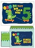 12 Einladungskarten incl. 12 Umschläge zum 5. Kindergeburtstag Dinosaurier für Jungen Jungs Einladungen fünfte Geburtstag