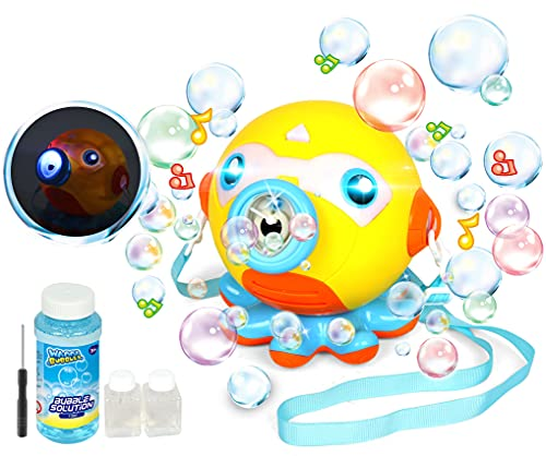BASBE Bubble Machine Blower for Kids, Octopus Bubble Maker with Music and Light for Kids 3000+...