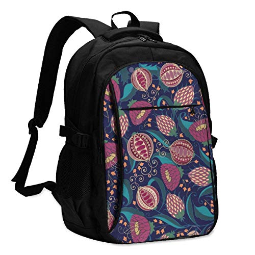 XCNGG Bohemian Pomegranate Floral Pattern Travel Laptop Backpack College School Bag Casual Daypack with USB Charging Port