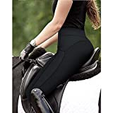 VerOut Medias de Montar para Mujer - Cintura de Mediana Altura Asiento Completo Grip de Silicona - Caballo Jodhpurs Pantalones para Mujer Equino Palagos estiramientos,Negro,M