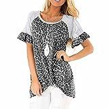 Elesoon Camiseta de verano para mujer con estampado de leopardo y manga corta anudada suelta con cuello en O, A-gris., 44