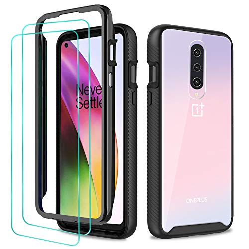 STOOKY Phone Case for OnePlus 8 (T-Mobile & Unlocked Phone ONLY), with 2 Pack HD Tempered Glass Screen Protector; Full-Body Heavy Duty Shockproof Bumper Cover, Black and Clear