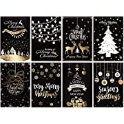 Whaline 32 Pack Black Bronzing Christmas Greeting Cards with 32 White Envelopes and 32 Stickers, Reindeer Xmas Tree Snowflake Cards, for Winter Holidays,Xmas,New Year,Holiday Gift Giving, 8 Designs