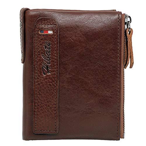 Hibate (Marrón-Oscuro) Cartera Cuero Hombre RFID Bloqueo Billetera Tarjetas de Crédito Piel Carteras