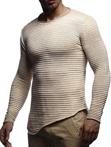 Leif Nelson Herren Pullover Strickpullover Hoodie Sweatshirt Longsleeve Rundhals Sweatpullover LN20735; Gr_e M, Beige