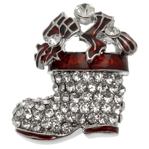Acosta Brooches, colore: rosso brillante, con cristalli, per & Christmas-Spilla a forma di calza della Befana, colore argento, in confezione regalo