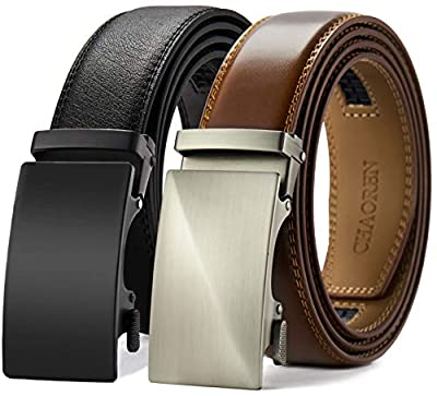 "Chaoren Leather Ratchet Belt 2 Pack Dress with Click Sliding Buckle 1 3/8"" in Gift Set Box - Adjustable Trim to Fit"