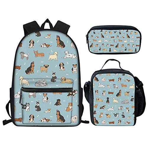 Cute Dog Kids Backpack Set Puppy Doodles Girls Schoolbag Set with 15.6 inch Bookbag Laptop/Insulated Lunch Bag/Zipper Pencil Bag 3 Pieces