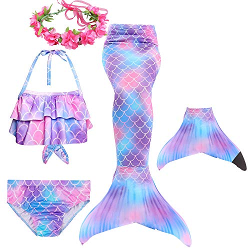 Lee Little Angel 2019 Nuevo Conjunto de Bikini de Cola de Sirena para niña de 4/5 Piezas + Guirnalda (120, DH101+B06+F62)