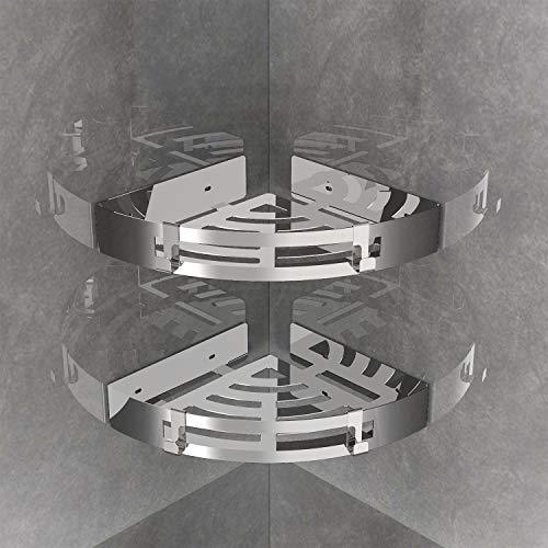 MeeQee 2 Pièces Etagère de Douche d'angle Auto-adhésif Inoxydable SUS304 avec 2 Crochets Fixation Murale pour Cuisine Panier de Rangement Pour Douche- Triangle