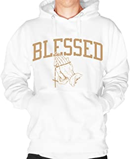 Blessed Hoodie Pullover Sweatshirt White Gold Praying Hands Blessings Urban Wear