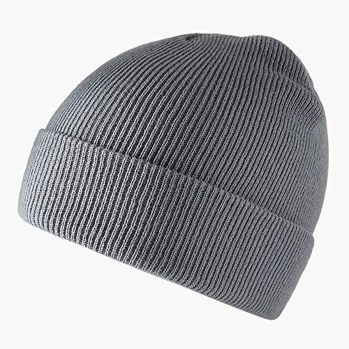 Mode einfarbig gestrickte Wollmütze Hut Winter warme Skimütze Männer und Frauen mehrfarbige Schädelkappe weiche elastische Kappe Sportkappe-Light Gray