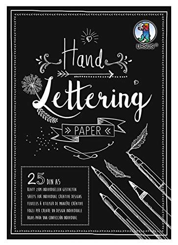 URSUS 24929290 Handlettering Paper, Block mit 25 Blatt Tonkarton 210 g/qm DIN A5, zum individuellen Gestalten, schwarz