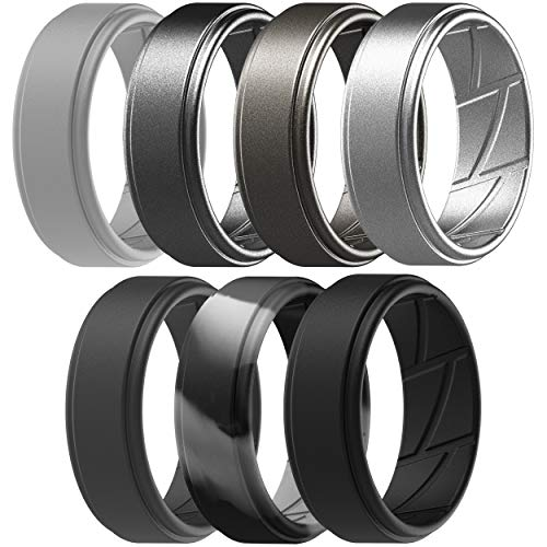 ThunderFit Silicone Wedding Ring for Men (Light Grey, Gunmetal, Brass, Black, Dark Grey, Camo Grey, Silver, 7.5 - 8 (18.2mm))
